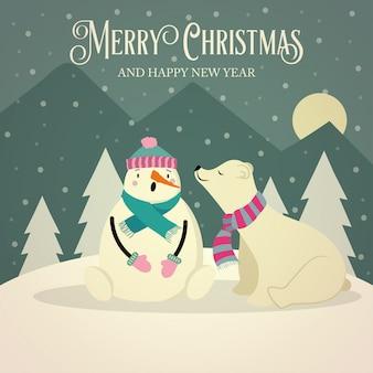 Belle carte de noël rétro avec ours polaire et bonhomme de neige
