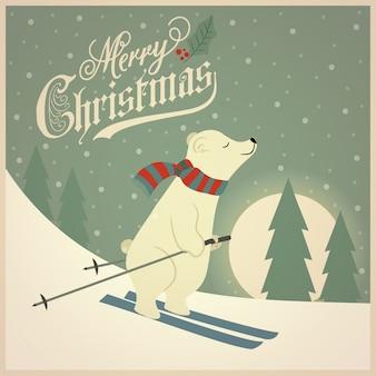 Belle carte de noël rétro avec ours polaire