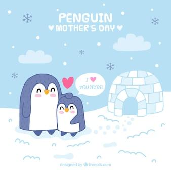 Belle carte des pingouins de la fête des mères