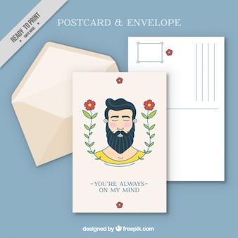 Belle carte postale avec l'homme et la décoration florale