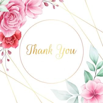 Belle carte de remerciement carrée avec bordure de fleurs
