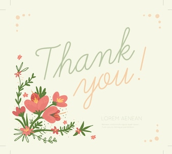 Belle carte de remerciements décorée de fleurs