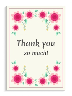 Belle carte de remerciements avec des fleurs roses.