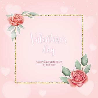 Belle carte rose de la saint-valentin avec des roses et des feuilles aquarelles
