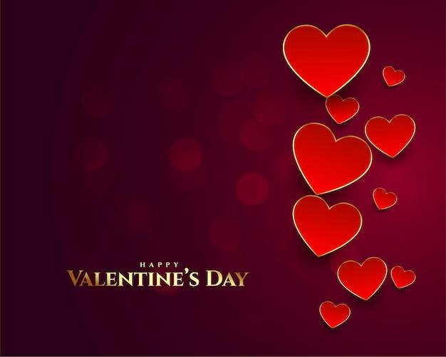 Belle carte de saint valentin heureuse avec fond de coeurs