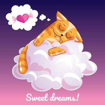 Une belle carte de voeux avec un chat dessiné à la main dormant sur le nuage et un exemple de message texte doux rêves, illustration