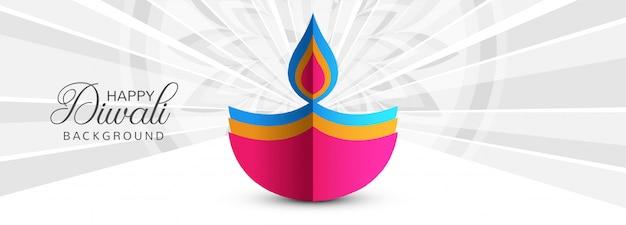 Belle carte de voeux de festival avec bannière de diwali