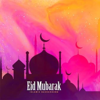 Belle carte de voeux de festival eid mubarak