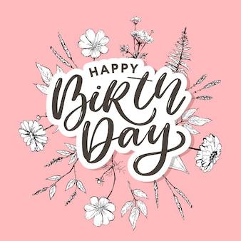 Belle carte de voeux joyeux anniversaire avec des fleurs