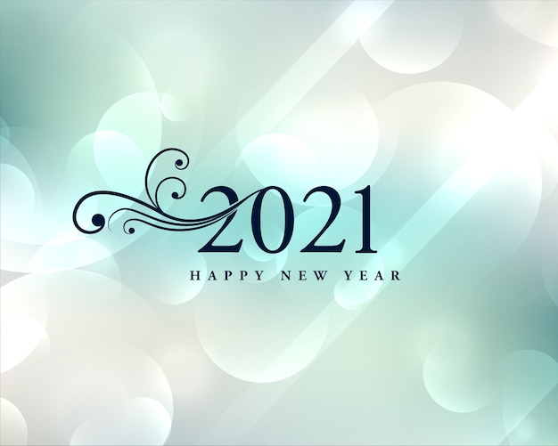 Belle carte de voeux de nouvel an 2021 avec fond de bokeh