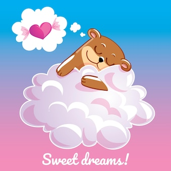 Une belle carte de voeux avec un ours dessiné à la main dormant sur le nuage et un exemple de message texte fais de beaux rêves, illustration