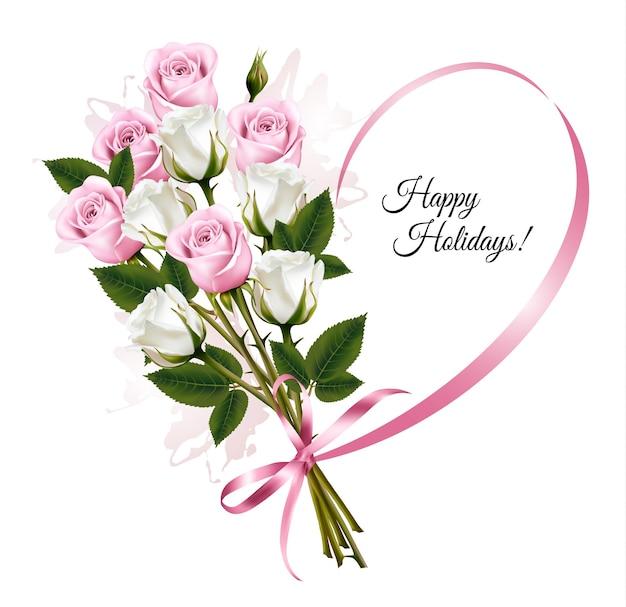 Belle carte de vœux avec des roses roses et blanches. vecteur.