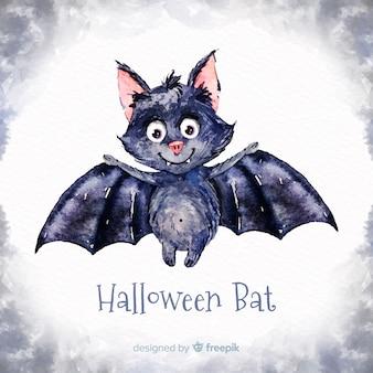 Belle chauve-souris halloween aquarelle
