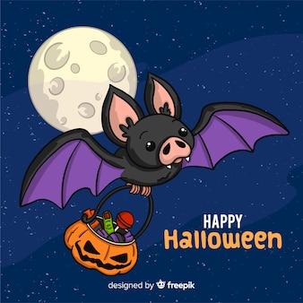 Belle chauve-souris d'halloween dessiné à la main