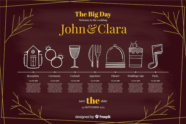 Belle chronologie de mariage dessiné à la main