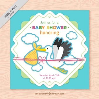 Belle cigogne carte baby shower