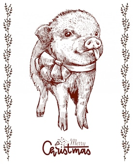 Belle cochon dessiné à la main avec un arc, montrant la langue. cochon de noël hipster.