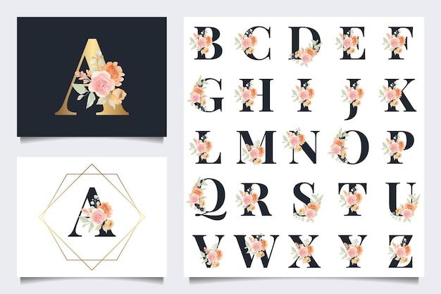Belle collection d'alphabet avec décoration aquarelle feuille