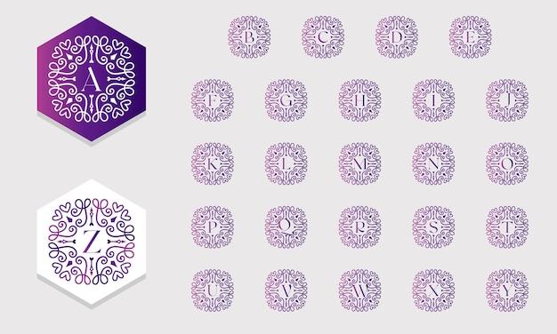 Belle collection d'alphabets décorée avec un style dégradé d'ornement vecteur gratuit