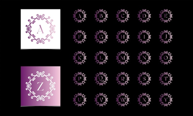 Belle collection d'alphabets décorée avec un vecteur gratuit de style dégradé d'ornement premium vectoprint