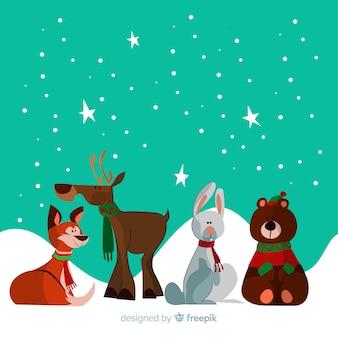 Belle collection d'animaux d'hiver