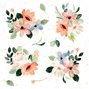 Belle collection d'aquarelle arrangement floral