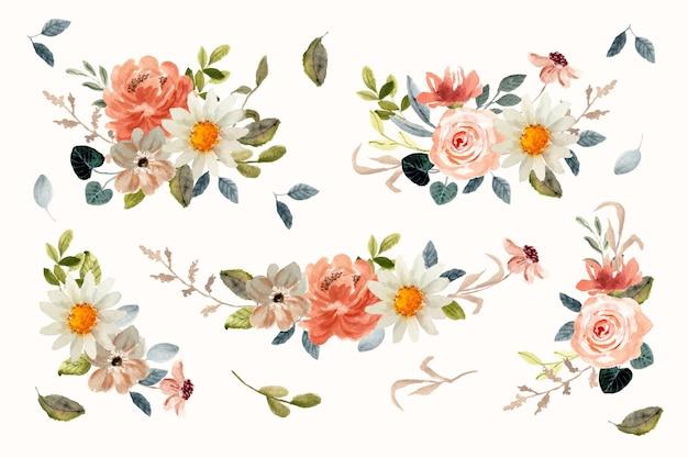 Belle collection d'aquarelles d'arrangements floraux