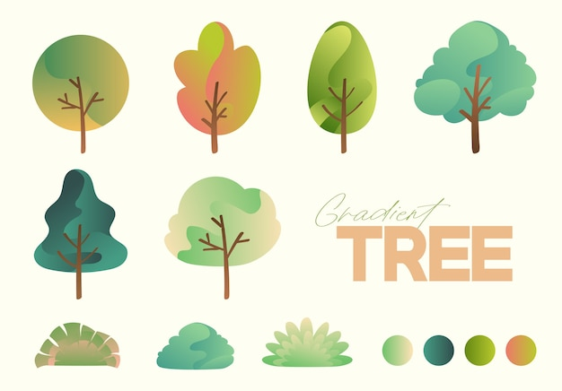 Belle collection d'arbres dégradés abstraits set vector