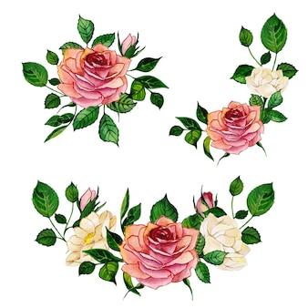 Belle collection arrangement de bouquets de fleurs aquarelle
