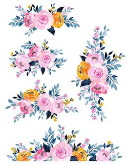 Belle collection d'arrangement floral aquarelle