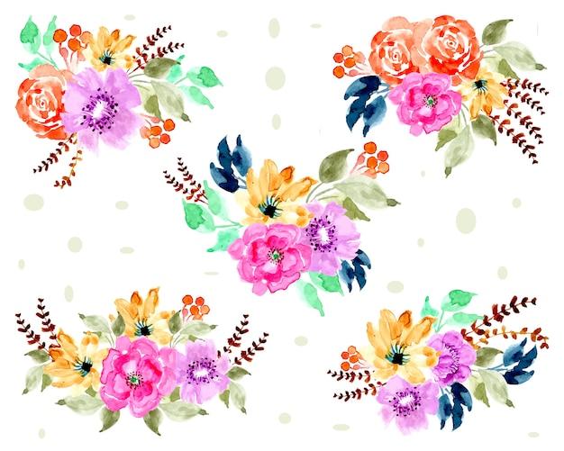 Belle collection d'arrangements floraux waatercolor