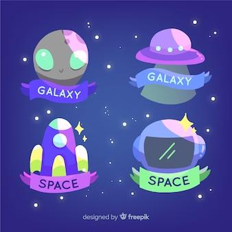 Belle collection de badge de l'espace dessiné à la main