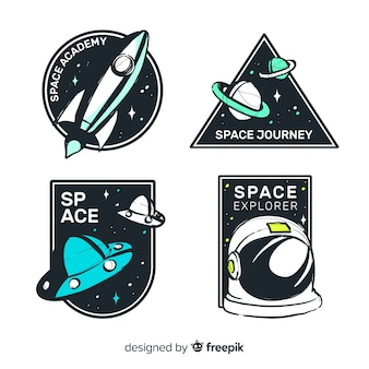 Belle collection de badge de l'espace dessiné à la main