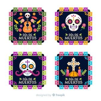 Belle collection de badges día de muertos