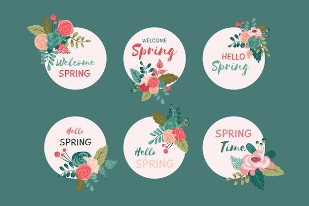 Belle collection de badges de printemps