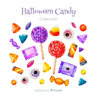 Belle collection de bonbons halloween aquarelle