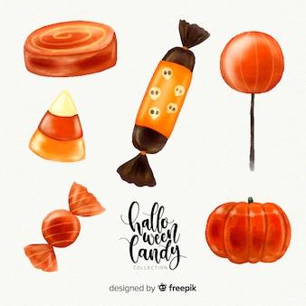 Belle collection de bonbons halloween aquarelle