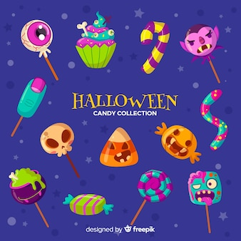 Belle collection de bonbons halloween dessinés à la main