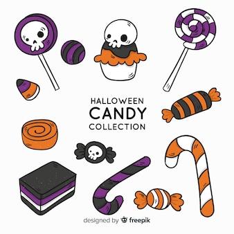 Belle collection de bonbons halloween dessinés à la main
