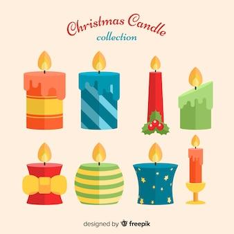 Belle collection de bougies de noël avec design plat