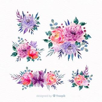 Belle collection de bouquet floral aquarelle