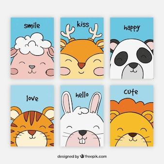 Belle collection de cartes avec des animaux souriants