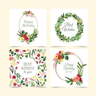 Belle collection de cartes d'anniversaire avec des fleurs
