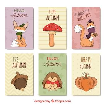 Belle collection de cartes automne dessinés à la main