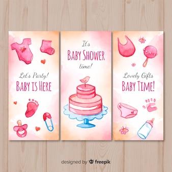 Belle collection de cartes de douche de bébé aquarelle