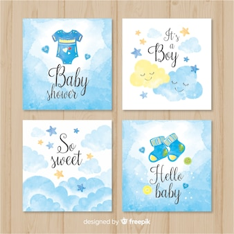 Belle collection de cartes de douche de bébé aquarelle