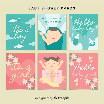 Belle collection de cartes de douche de bébé avec un design plat