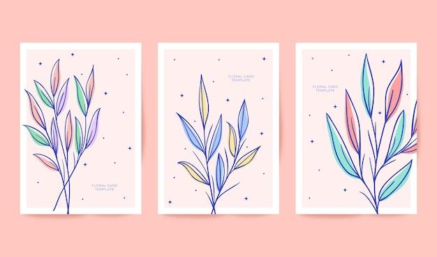 Belle collection de cartes florales dessinées à la main