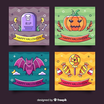 Belle collection de cartes d'halloween dessinées à la main