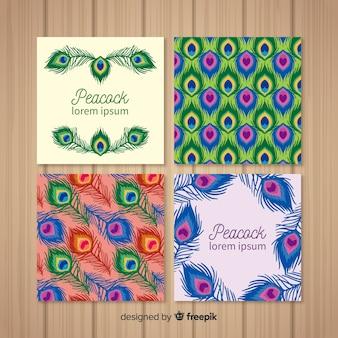 Belle collection de cartes de paon